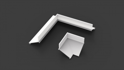 opal white indirect diffuser for 90° angle when wall-mounted with indirect against wall